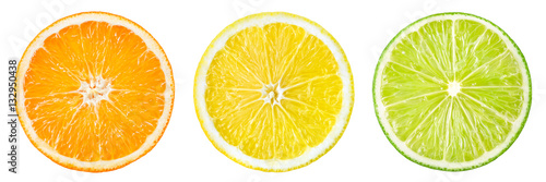 Citrus fruit. Orange, lemon, lime, grapefruit. Slices isolated o - 132950438