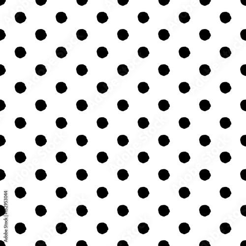 Hand-drawn polka dot seamless pattern. Black and white. - 132953044
