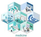 Isometric flat interior of hospital room, pharmacy, doctor