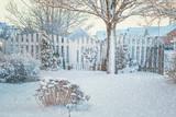 Fototapety Winter Garden with falling snow