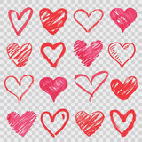 hand drawn vector hearts - 132961622