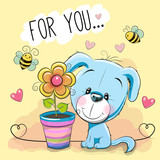 Cute cartoon Puppyl with flower