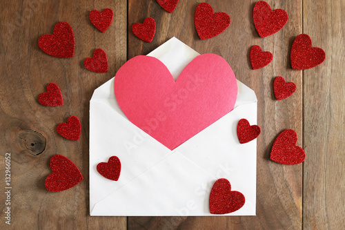 Heart Shaped Homemade Valentine's Day Card on Rustic Wood Backgr