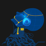 vector of robot crying, concept of science fiction