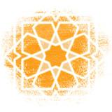 Magic circle, Sacred geometry, glowing neon lines. Strange magic symbol on orange background.