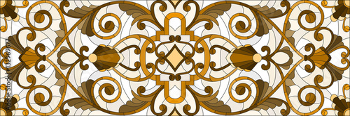 Illustration in stained glass style with abstract  swirls ,flowers and leaves  on a light background,horizontal orientation, sepia