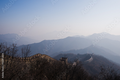 Poster the great wall of china with a beautiful sunny day