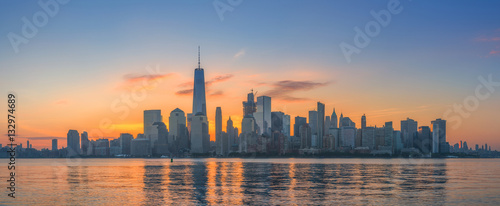 Manhattan Skyline at sunrise from New Jersey  - 132974689