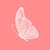 Vector white hand drawing butterfly. Illustration of butterfly