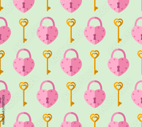 Cotton fabric seamless pattern from padlock, key with heart shape. Vector