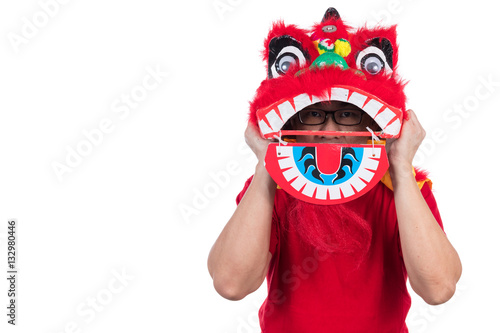 Poster Asian Chinese man perform lion dance celebrating Chinese New Yea