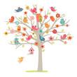 bird family on tree