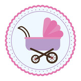 seal stamp with Baby stroller icon over white background. colorful design. vector illustration