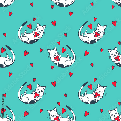Cotton fabric Cute baby cat, kitty with hearts - vector hand drawn illustration. Childish kawaii style sketch with small animal. Valentines day romantic wallpaper