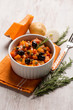Постер, плакат: ratatouille with pumpkin capers potatoes and black olives