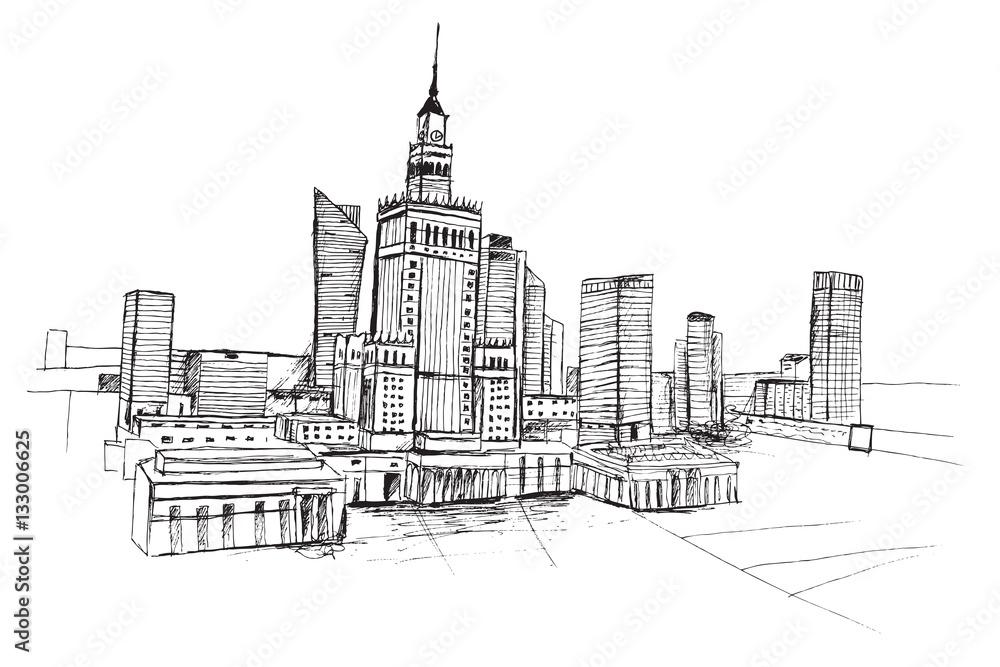 Panorama Miasta Warszawa Rysunek Ręcznie Rysowany Na Białym Tle