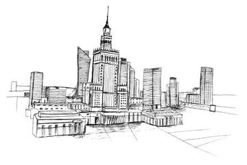 Panorama miasta Warszawa. Rysunek ręcznie rysowany na białym tle.