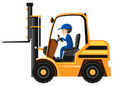 Man driving and controling the forklift