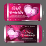 Vector Happy Valentines Day gift voucher on the pink gradient background with hearts, waves.