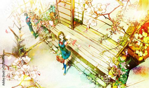 桜を見上げる男女(入学式・新学期) - 133020474