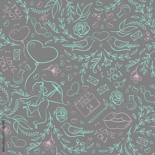 Cotton fabric Hand drawn Valentine's Day seamless pattern