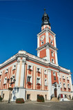 Baroque Town Hall with clock tower on the market in Leszno.