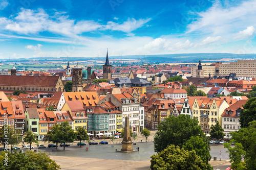 Leinwanddruck Bild Panoramic view of Erfurt