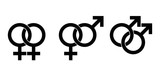 Gender identity symbols based on astrological symbols, Mars for male, Venus for female. Interlocked signs for heterosexuality, female and male homosexuality. Illustration on white background. Vector. - 133032407