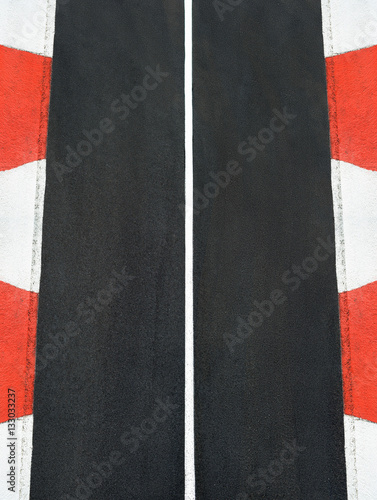 Poster Texture of motor race asphalt and curb Grand Prix track
