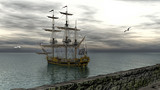 Pirate vessel furloned and anchored on calm water 3d rendering