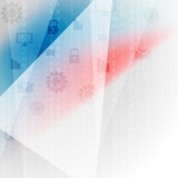 Blue red abstract tech communication design