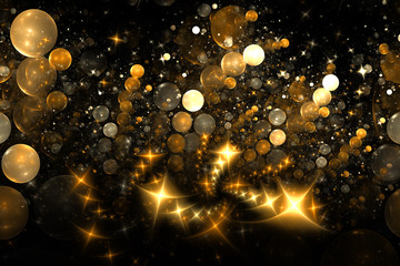Abstract golden bubbles and sparks on black background. Fantasy fractal design. Digital art. 3D rendering.