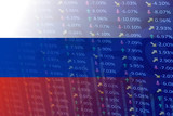 russia flag with indicators and chart