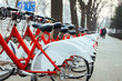 Public Bike Rental Station in Beijing, China with Bicycles arranging in row ready for public rental