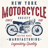 vintage motorcycle sketch illustration with typography