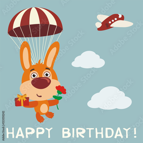 Happy Birthday Funny Bunny Rabbit Fly On Parachute With Gift And Flower Card