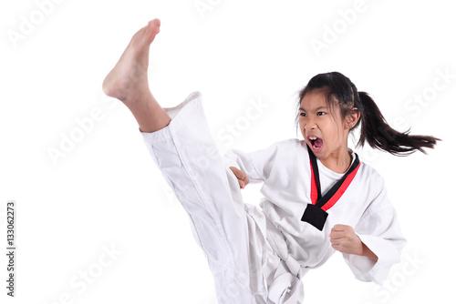 Poster Asian taekwondo girl on with background.