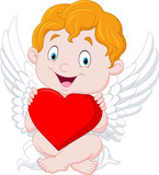 Funny little cupid holding heart