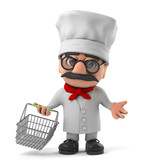 3d Friendly Italian chef character goes shopping with a basket