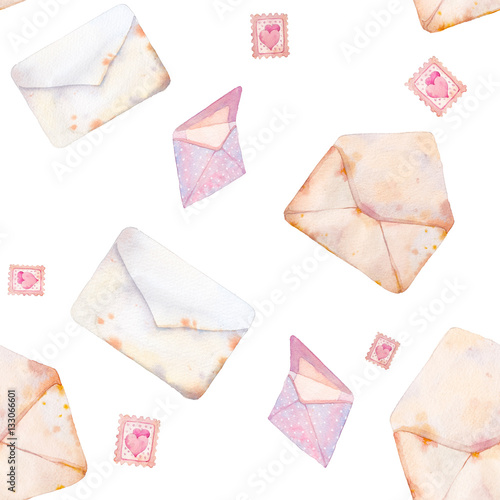 Cotton fabric Watercolor Valentine's day seamless pattern with romantic post cards. Hand drawn texture with vintage envelope on white background.