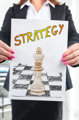 Poster Strategy concept shown by a businesswoman