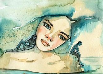 abstract watercolor illustration depicting a portrait of a woman © bruniewska
