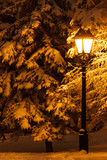 Street lantern and fir tree under the snow