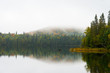 Boreal forest in northern Ontario, reflected in a lake.