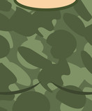 Military torso. Soldier Chest. Army clothes background