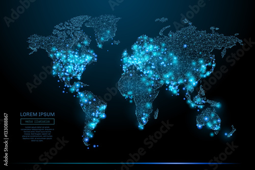 Abstract image of a world map in the form of a starry sky or space, consisting of points, lines, and shapes in the form of planets, stars and the universe. World vector wireframe concept. - 133088867