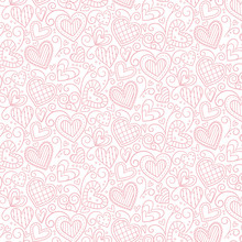 Pink doodle hearts background. Editable vector seamless pattern.