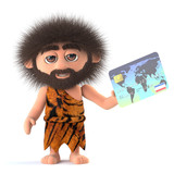3d Funny cartoon caveman pays with a debit card