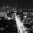 Toronto Skyline at night looking up Yonge Street