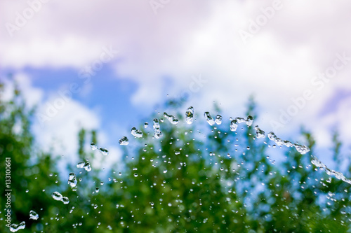 Poster Drops and water sprays on nature background